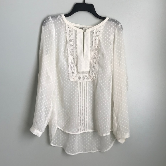 c4bcfeb0c1f9b2 Daniel Rainn Tops - Daniel Rainn Ivory Sheer Polka Dot Lace Trim Top